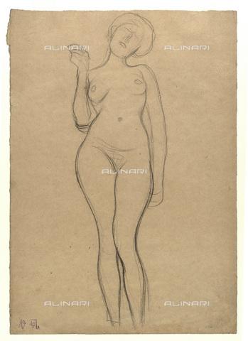 IMA-F-622301-0000 - Female nude standing, pencil on paper, Gustav Klimt (1862-1918), Wien Museum, Vienna - Wien Museum / Imagno/Alinari Archives