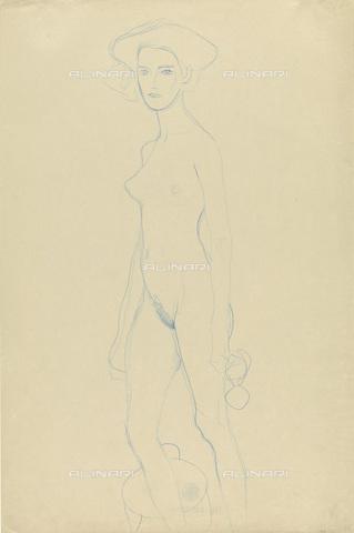 IMA-F-622302-0000 - Female nude standing, pencil on paper, Gustav Klimt (1862-1918), Wien Museum, Vienna - Wien Museum / Imagno/Alinari Archives