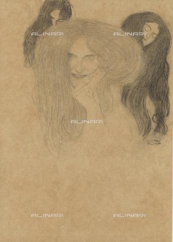 IMA-F-622304-0000 - Gorgons, pencil on paper, Gustav Klimt (1862-1918), Wien Museum, Vienna - Wien Museum / Imagno/Alinari Archives