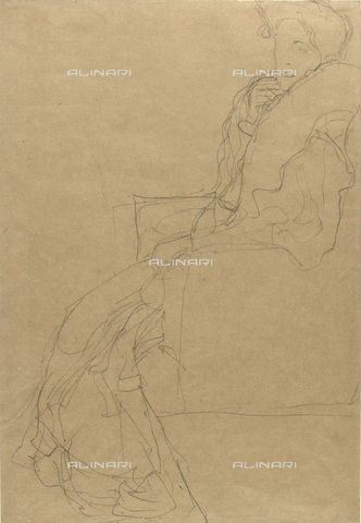 IMA-F-622305-0000 - Female portrait, study for the portrait of Fritza Riedler, pencil on paper, Gustav Klimt (1862-1918), Wien Museum, Vienna - Wien Museum / Imagno/Alinari Archives