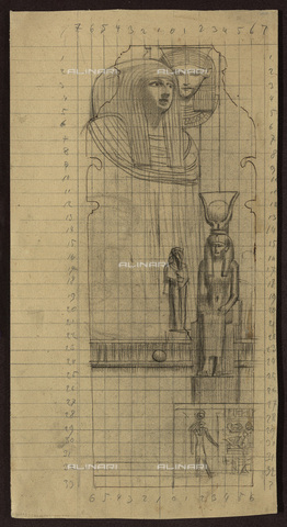 IMA-F-622308-0000 - Scene in the Egyptian subject, sketch for a fresco of the Kunsthistorisches Museum in Vienna, pencil on paper, Gustav Klimt (1862-1918), Wien Museum, Vienna - Wien Museum / Imagno/Alinari Archives