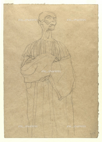 IMA-F-622309-0000 - Man in a long dress, pencil on paper, Gustav Klimt (1862-1918), Wien Museum, Vienna - Wien Museum / Imagno/Alinari Archives