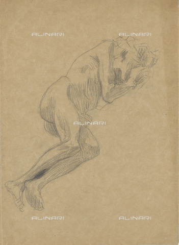 IMA-F-622310-0000 - Crouching male nude, pencil on paper, Gustav Klimt (1862-1918), Wien Museum, Vienna - Wien Museum / Imagno/Alinari Archives