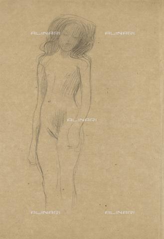 IMA-F-622311-0000 - Naked girl standing, pencil on paper, Gustav Klimt (1862-1918), Wien Museum, Vienna - Wien Museum / Imagno/Alinari Archives