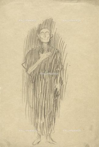 IMA-F-622313-0000 - Man standing, pencil on paper, Gustav Klimt (1862-1918), Wien Museum, Vienna - Wien Museum / Imagno/Alinari Archives