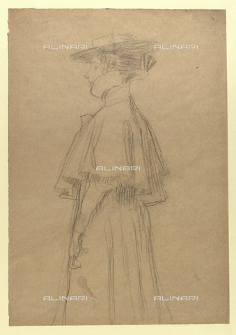 IMA-F-622316-0000 - Woman with coat and hat, Gustav Klimt (1862-1918), Wien Museum, Vienna - Wien Museum / Imagno/Alinari Archives