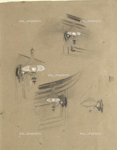 IMA-F-622320-0000 - Four lamps, studio Zuschauerraum im alten Burgtheater, pencil on paper, Gustav Klimt (1862-1918), Wien Museum, Vienna - Wien Museum / Imagno/Alinari Archives