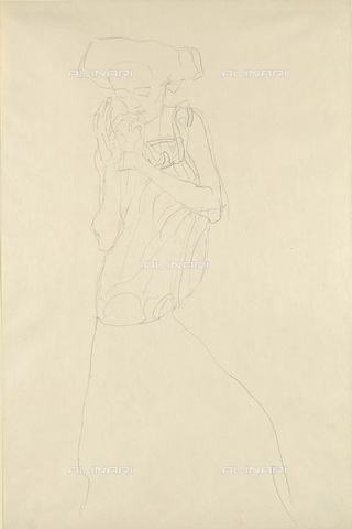 IMA-F-622321-0000 - Study for the portrait of a lady, pencil on paper, Gustav Klimt (1862-1918), Wien Museum, Vienna - Wien Museum / Imagno/Alinari Archives