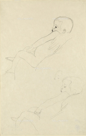 IMA-F-622322-0000 - Study for naked baby sitting, pencil on paper, Gustav Klimt (1862-1918), Wien Museum, Vienna - Wien Museum / Imagno/Alinari Archives