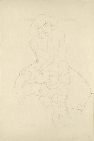 IMA-F-622326-0000 - Seated female nude, pencil on paper, Gustav Klimt (1862-1918), Wien Museum, Vienna - Wien Museum / Imagno/Alinari Archives