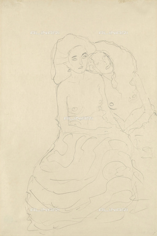 IMA-F-622330-0000 - Young half-naked women, pencil on paper, Gustav Klimt (1862-1918), Wien Museum, Vienna - Wien Museum / Imagno/Alinari Archives