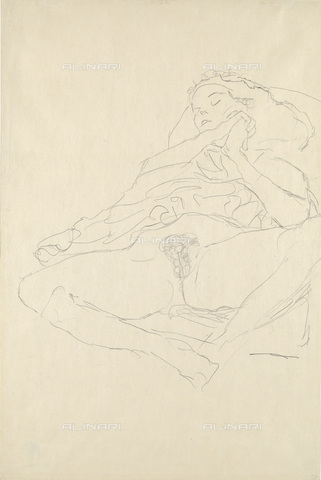 IMA-F-622331-0000 - Young half-naked woman, pencil on paper, Gustav Klimt (1862-1918), Wien Museum, Vienna - Wien Museum / Imagno/Alinari Archives