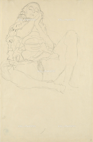 IMA-F-622332-0000 - Young half-naked woman, pencil on paper, Gustav Klimt (1862-1918), Wien Museum, Vienna - Wien Museum / Imagno/Alinari Archives