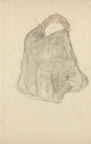 IMA-F-622333-0000 - Squatting woman wrapped in a dark suit, pencil and watercolor on paper, Gustav Klimt (1862-1918), Wien Museum, Vienna - Wien Museum / Imagno/Alinari Archives