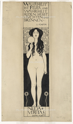 IMA-F-622336-0000 - Nuda Veritas, pencil and ink on paper, Gustav Klimt (1862-1918), Wien Museum, Vienna - Wien Museum / Imagno/Alinari Archives