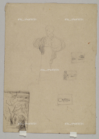 IMA-F-622340-0000 - Bozzetto with female portrait, pencil on paper, Gustav Klimt (1862-1918), Wien Museum, Vienna - Wien Museum / Imagno/Alinari Archives