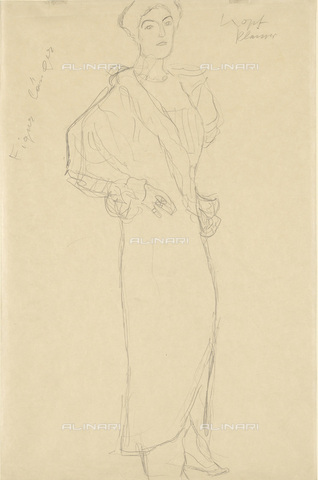 IMA-F-622341-0000 - Female portrait, study for the portrait of Paula Zuckerkandl,, pencil on paper, Gustav Klimt (1862-1918), Wien Museum, Vienna - Wien Museum / Imagno/Alinari Archives