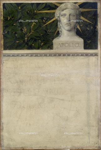 IMA-F-622342-0000 - Testa di Apollo, studio per il manifesto della Mostra Internazionale per la Musica e il teatro, matita e olio su carta, Gustav Klimt (1862-1918), Wien Museum, Vienna - Wien Museum / Imagno/Alinari Archives