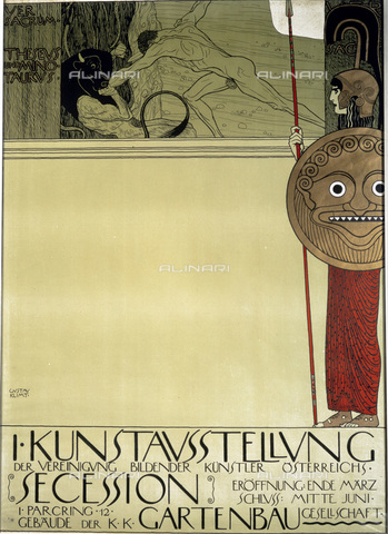 IMA-F-622344-0000 - Theseus and the Minotaur, a poster of the first exhibition of the Viennese Secession, lithograph, Gustav Klimt (1862-1918), Wien Museum, Vienna - Wien Museum / Imagno/Alinari Archives