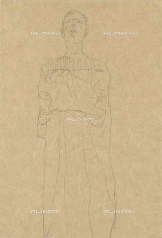 IMA-F-622348-0000 - Man with long dress, pencil on paper, Gustav Klimt (1862-1918), Wien Museum, Vienna - Wien Museum / Imagno/Alinari Archives
