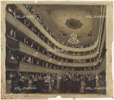 IMA-F-622356-0000 - Auditorium of the Burgtheater (court theater), gouache, pencil on paper, Gustav Klimt (1862-1918), Wien Museum, Vienna - Wien Museum / Imagno/Alinari Archives