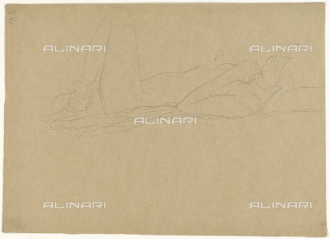 IMA-F-622361-0000 - Half-naked woman lying, pencil on paper, Gustav Klimt (1862-1918), Wien Museum, Vienna - Wien Museum / Imagno/Alinari Archives