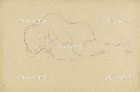 IMA-F-622365-0000 - Naked woman lying, pencil on paper, Gustav Klimt (1862-1918), Wien Museum, Vienna - Wien Museum / Imagno/Alinari Archives