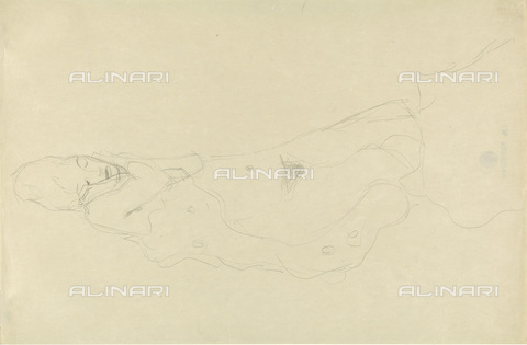IMA-F-622366-0000 - Nude sleeping woman, pencil on paper, Gustav Klimt (1862-1918), Wien Museum, Vienna - Wien Museum / Imagno/Alinari Archives