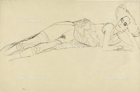 IMA-F-622368-0000 - Half-naked woman lying, pencil on paper, Gustav Klimt (1862-1918), Wien Museum, Vienna - Wien Museum / Imagno/Alinari Archives