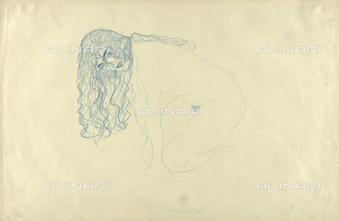 IMA-F-622369-0000 - Naked woman with her hair down, pencil on paper, Gustav Klimt (1862-1918), Wien Museum, Vienna - Wien Museum / Imagno/Alinari Archives