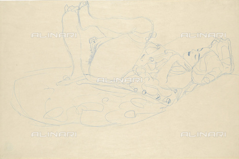 IMA-F-622375-0000 - Half-naked woman in bed, pencil on paper, Gustav Klimt (1862-1918), Wien Museum, Vienna - Wien Museum / Imagno/Alinari Archives