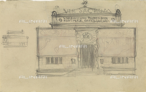 IMA-F-622380-0000 - Sketch for the façade of the Secession, design, Gustav Klimt (1862-1918), Wien Museum, Vienna - Austrian Archives / Imagno/Alinari Archives