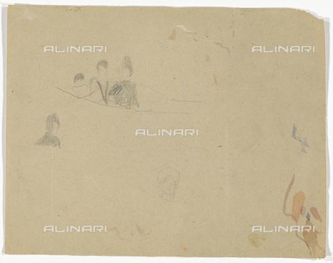IMA-F-622381-0000 - Spectators, study for Zuschauerraum im alten Burgtheater, pencil on paper, Gustav Klimt (1862-1918), Wien Museum, Vienna - Imagno/Alinari Archives