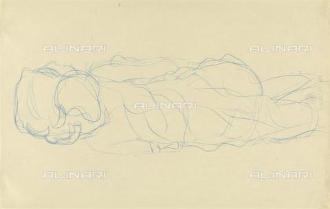 IMA-F-622382-0000 - Woman lying, pencil on paper, Gustav Klimt (1862-1918), Wien Museum, Vienna - Imagno/Alinari Archives