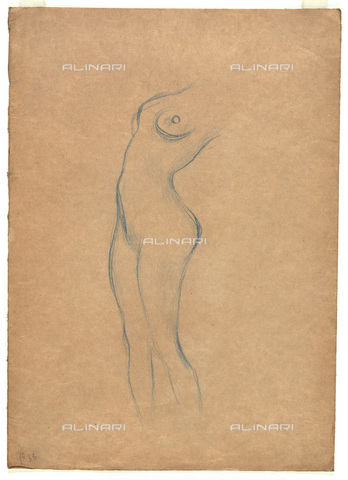 IMA-F-622388-0000 - Female nude, pencil on paper, Gustav Klimt (1862-1918), Wien Museum, Vienna - Imagno/Alinari Archives