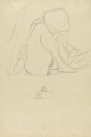IMA-F-622391-0000 - Crouching female nude, pencil on paper, Gustav Klimt (1862-1918), Wien Museum, Vienna - Imagno/Alinari Archives