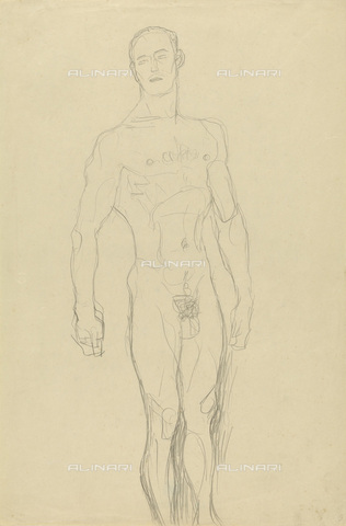 IMA-F-622394-0000 - Male nude, pencil on paper, Gustav Klimt (1862-1918), Wien Museum, Vienna - Imagno/Alinari Archives