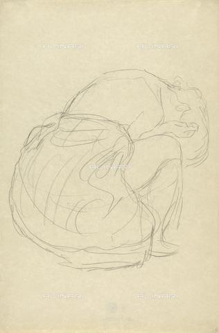 IMA-F-622395-0000 - Woman squatting half-naked, pencil on paper, Gustav Klimt (1862-1918), Wien Museum, Vienna - Imagno/Alinari Archives