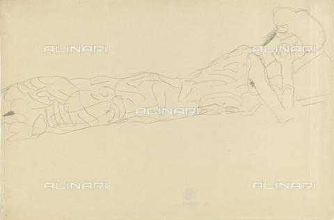 IMA-F-622402-0000 - Girl reading in bed, pencil on paper, Gustav Klimt (1862-1918), Wien Museum, Vienna - Imagno/Alinari Archives