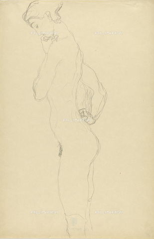 IMA-F-622405-0000 - Female nude standing, pencil on paper, Gustav Klimt (1862-1918), Wien Museum, Vienna - Imagno/Alinari Archives