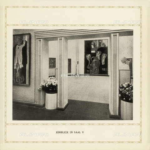IMA-F-622463-0000 - International Art Exhibition in Rome in 1911: Austrian Pavilion designed by Josef Hoffmann (1870-1956) with paintings by Gustav Klimt (1862-1918) - Data dello scatto: 1911 - Austrian Archives / Imagno/Alinari Archives