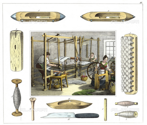 IMA-F-622691-0000 - Workers of a textile industry at work on looms, spools and bobbins; color lithograph published in Werkstaetten von Handwerkern - Austrian Archives / Imagno/Alinari Archives