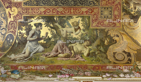 IMA-F-625585-0000 - Dream (Puck mistakes Lysander and Demetrius), ceiling fresco, oil on plaster, Gustav Klimt (1862-1918) -Franz Matsch (1861-1942) -Ernst Klimt (1864-1892), Hermes, Feldmuehlgasse, Vienna - Wien Museum / Imagno/Alinari Archives