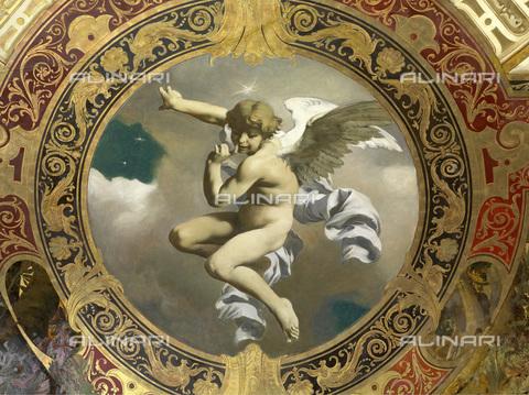 IMA-F-625586-0000 - Putto, ceiling fresco, oil on plaster, Gustav Klimt (1862-1918) -Franz Matsch (1861-1942) -Ernst Klimt (1864-1892), Hermes, Feldmuehlgasse, Vienna - Wien Museum / Imagno/Alinari Archives