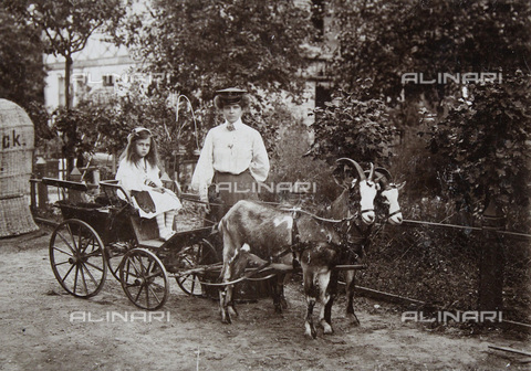 IMA-F-646489-0000 - Binz auf Rügen, Baltic Sea, children carriage with two Billy Goats - Data dello scatto: 1900 - H. Noack / Austrian Archives / Imagno/Alinari Archives