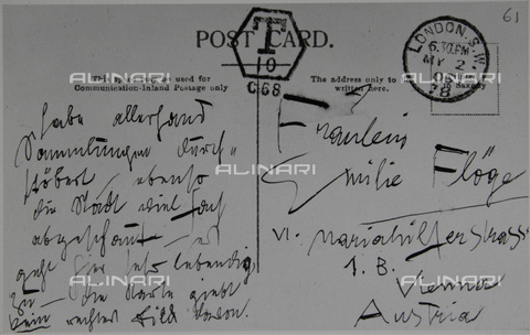 IMA-F-649364-0000 - Autographed postcard of Gustav Klimt (1862-1918) written from London to Emile Floge in 1906 - Austrian Archives / Imagno/Alinari Archives