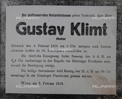 IMA-F-650960-0000 - Obituary of Gustav Klimt (1862-1918), published February 7, 1918 in Vienna - Austrian Archives / Imagno/Alinari Archives