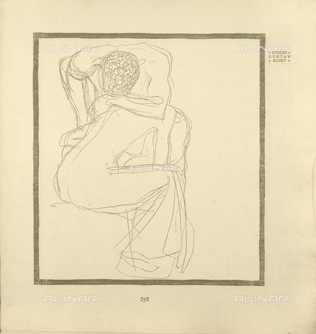 IMA-F-651513-0000 - Naked lovers, sketch for the magazine Ver Sacrum, 1903, engraving, Gustav Klimt (1862-1918) - Austrian Archives / Imagno/Alinari Archives