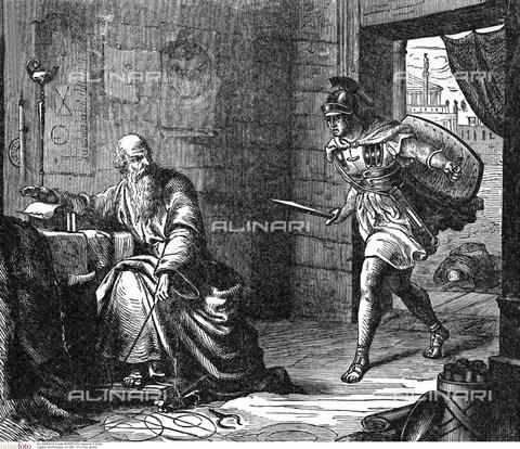 INT-F-083518-0000 - Assassinio dello scienziato greco Archimede (ca.  285 - 212), illustrazione a stampa - Nachum T. Gidal / Interfoto/Archivi Alinari