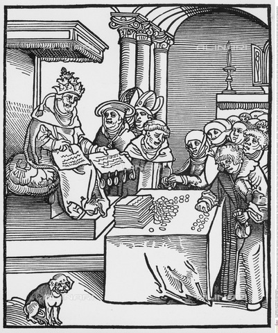 INT-F-493948-0000 - The Pope examines the texts of the reform of Martin Luther, engraving, Lucas Cranach (1472-1553) - Sammlung Rauch / Interfoto/Alinari Archives